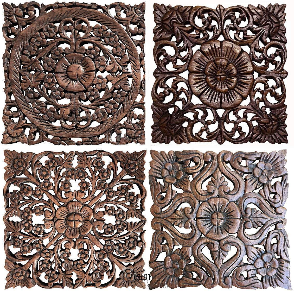"Asiana Home Decor-Floral Carved Wood Wall Art Plaques. Tropical Home Decor. 12"" (Brown, Set of 4)"
