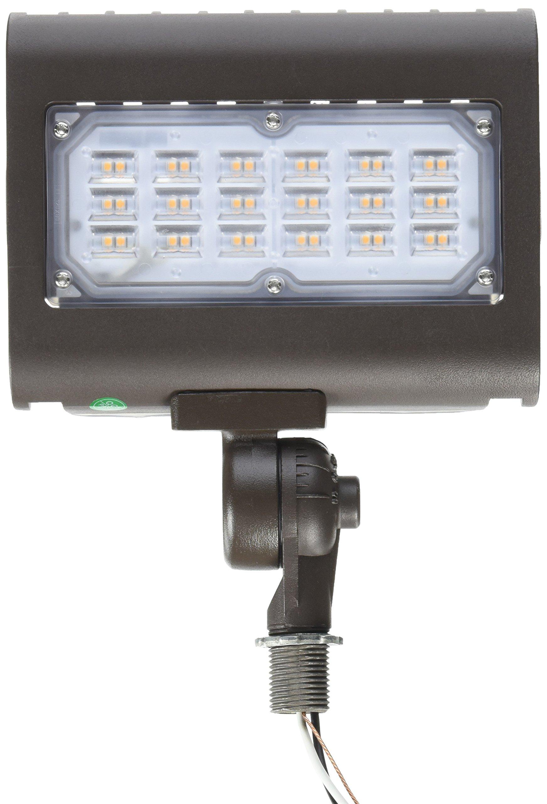 Morris 71555 30W 3000K LED Flat Panel Flood Light with 1/2'' Adjustable Knuckle Mount, 2900 lm, 120-277V, Bronze