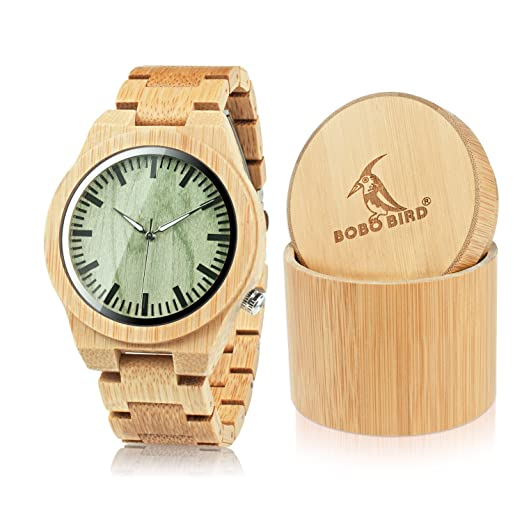 Bobo pájaro Hombres del diseño de Marca Superior Verde Madera Dial Reloj con Full Bandas en Caja Redonda de Madera de bambú: Amazon.es: Relojes