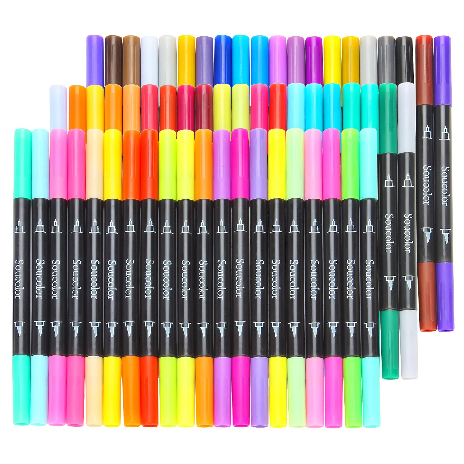 Soucolor 60 Colors Dual Tip Brush Pens with Fineliner Tip 0.4 Art Markers for Adult Coloring Books, Bullet Journal