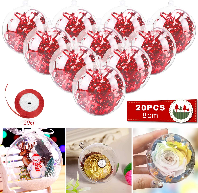 20pcs*5cm Kranich 20pcs Boules de No/ël Transparentes en Plastique pour Mariage Arbre de No/ël Cadeau D/écoration Ornement