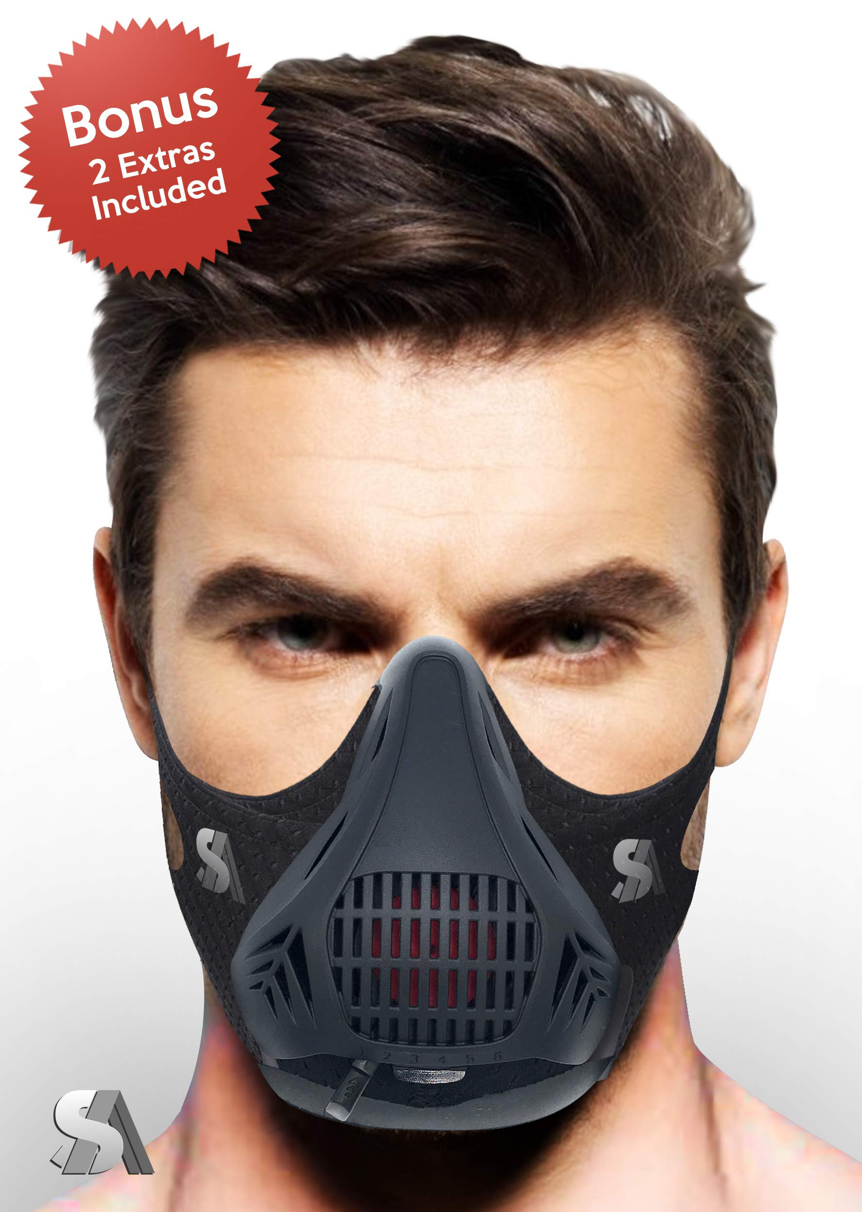 Workout Mask | Fitness Training Mask | Endurance Mask | Elevation Training | Gym, Running, Exercising Mask and Cardio Mask | 6 Levels of Resistance | BONUS Extra Sleeve and Hard Case Included
