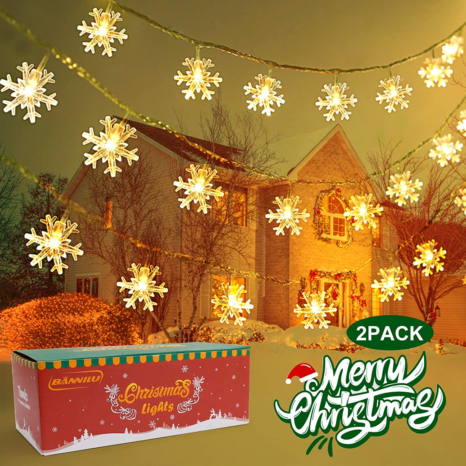 Christmas String Lights, 2 Pack Snowflake Fairy Lights 40 ft 80 LED Battery Operated Waterproof for Xmas Garden Patio Bedroom Party Decor Indoor Outdoor Celebration Lighting (Snowflakes-Warm White)
