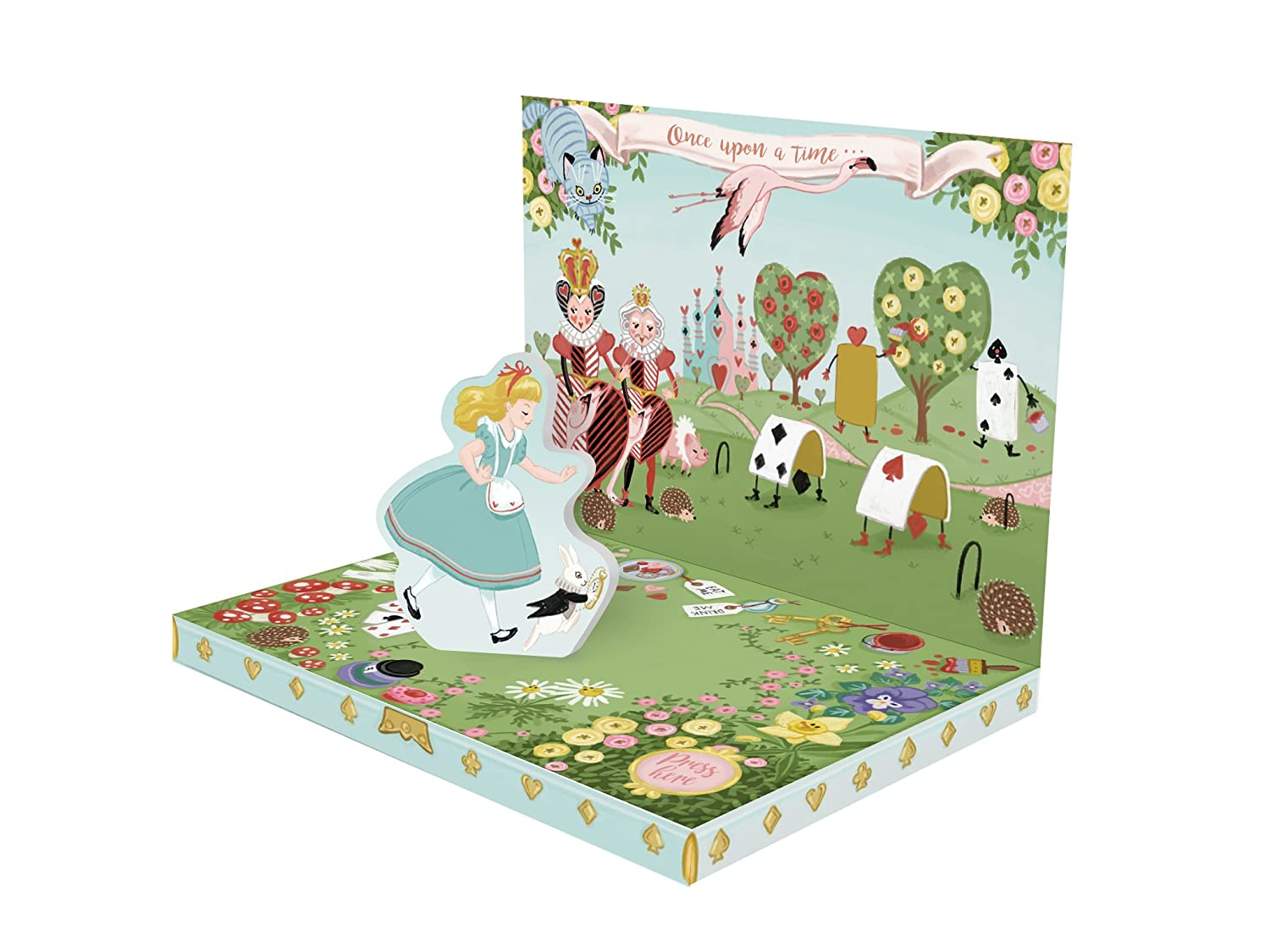 Biglietto auguri ' ADVENTURES IN WONDERLAND ' Music Box Card