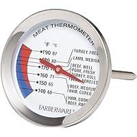 Farberware Protek - Termómetro de lectura instantánea con soporte de bolsillo, Carne, Acero inoxidable, 1