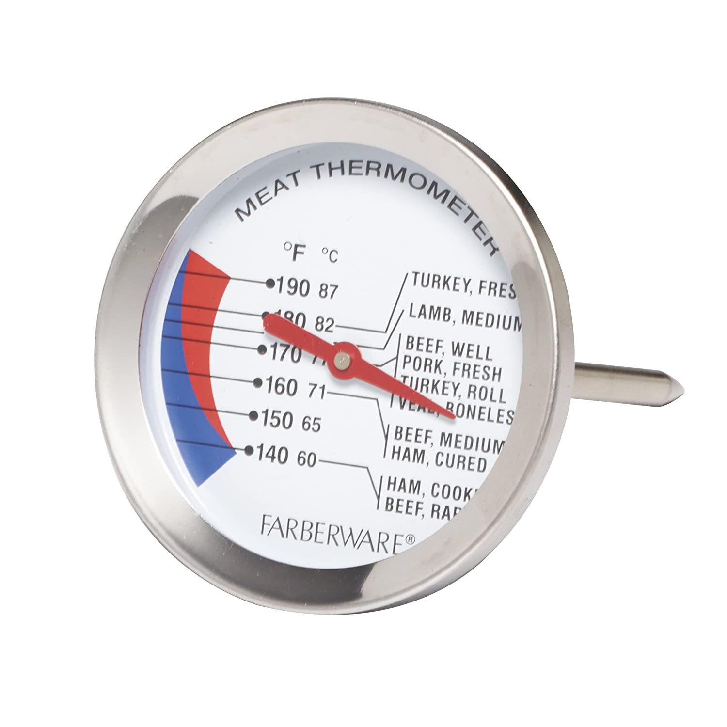 Farberware Protek Large Meat Thermometer, Stainless Steel