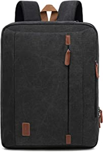 CoolBELL 17.3 Inches Convertible Laptop Messenger Bag Shoulder Bag Canvas Backpack Oxford Cloth Multi-Functional Briefcase for Laptop/MacBook/Tablet (Canvas Dark Black)