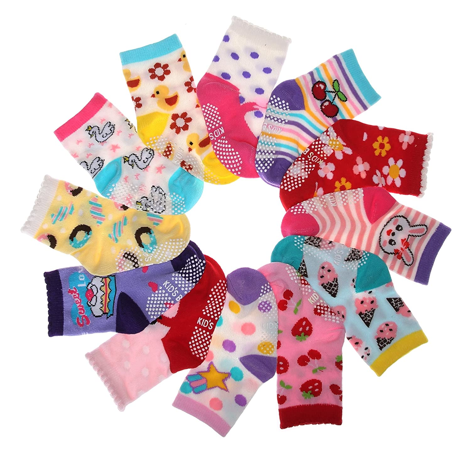 SDBING Baby's Color 6 Pair Thick Warm Cotton Socks (Anti-slip 1 to 3 Years Old)