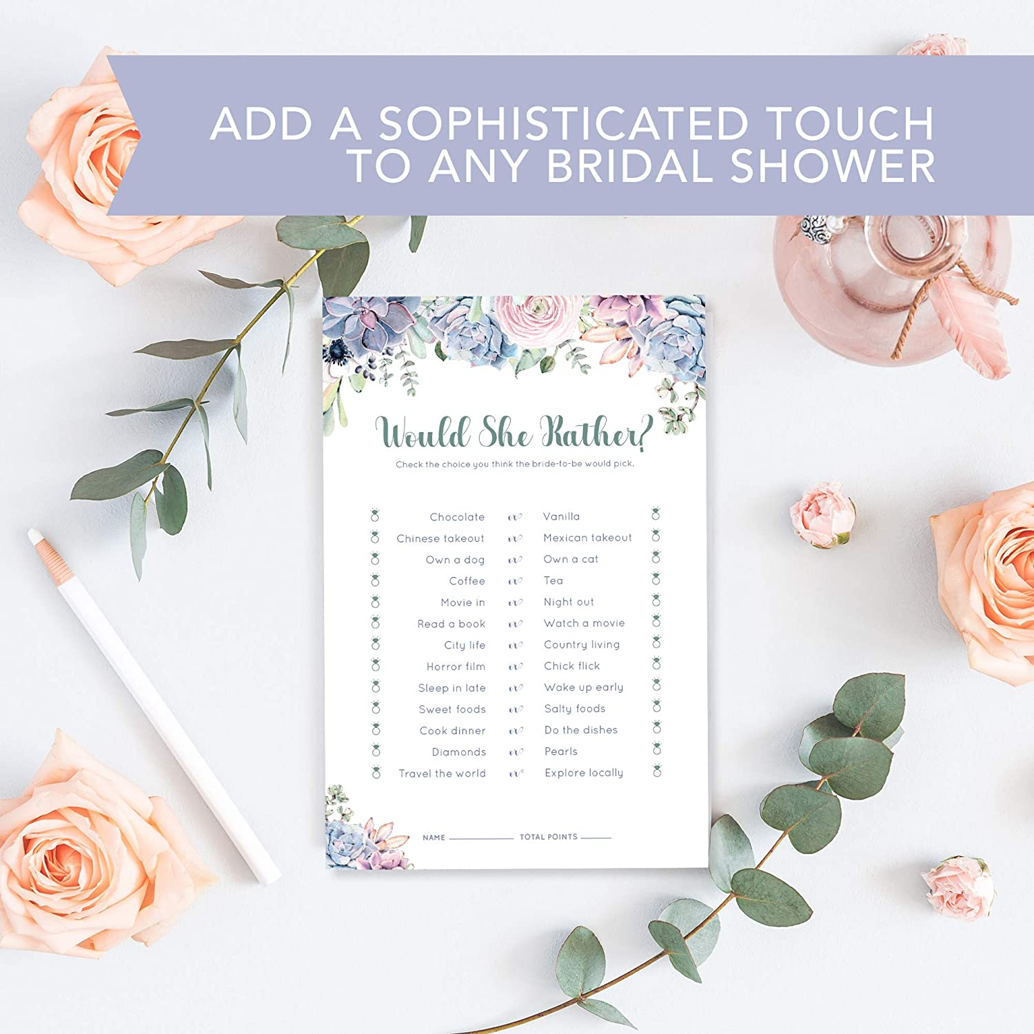 b467be1b14e6 Amazon.com  30 Pack Bridal Shower Games- Would She Rather Bridal Shower  Game Cards. Succulent Design matches any Floral Bridal Shower  Kitchen    Dining