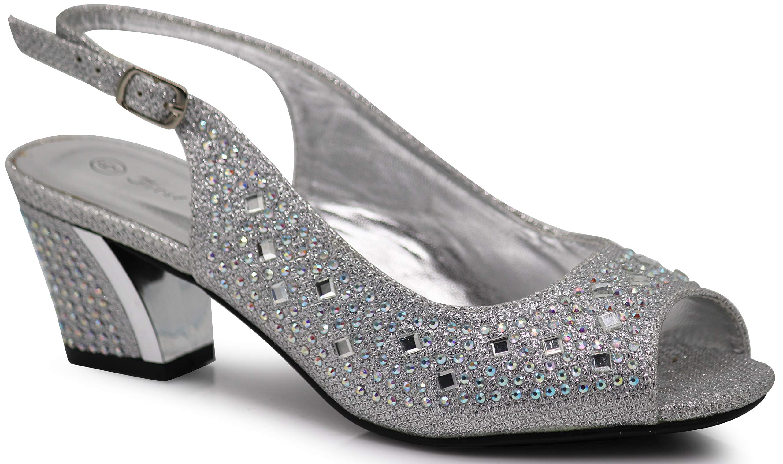 Enzo Romeo Lime01 Womens Open Toe Low Heel Wedding Rhinestone Wedge Sandal Shoes (10, Silver)
