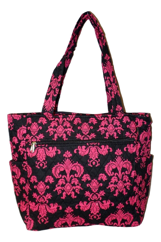 ec86c3ebf3d1 Bohemian Print Quilted Multipurpose Market Beach Large Tote Bag (Black Pink  Damask)