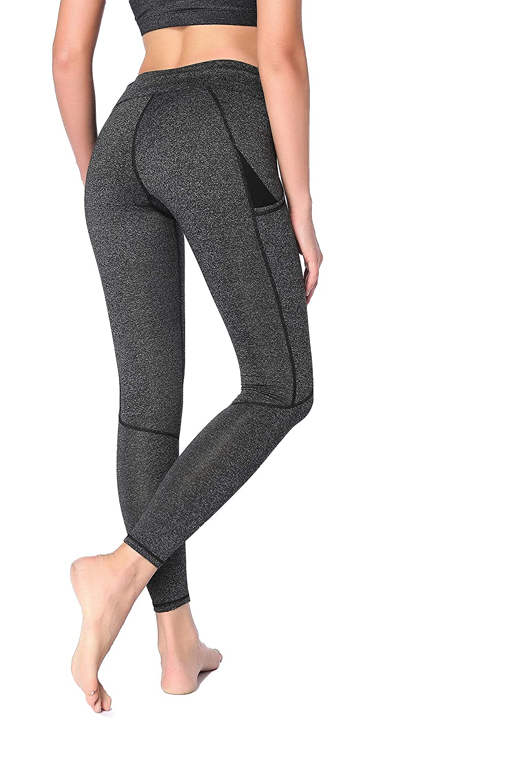 Grey Suoyugoo Women's Workout Yoga Pants Running Leggings Gym Tights 2 Side Pockets