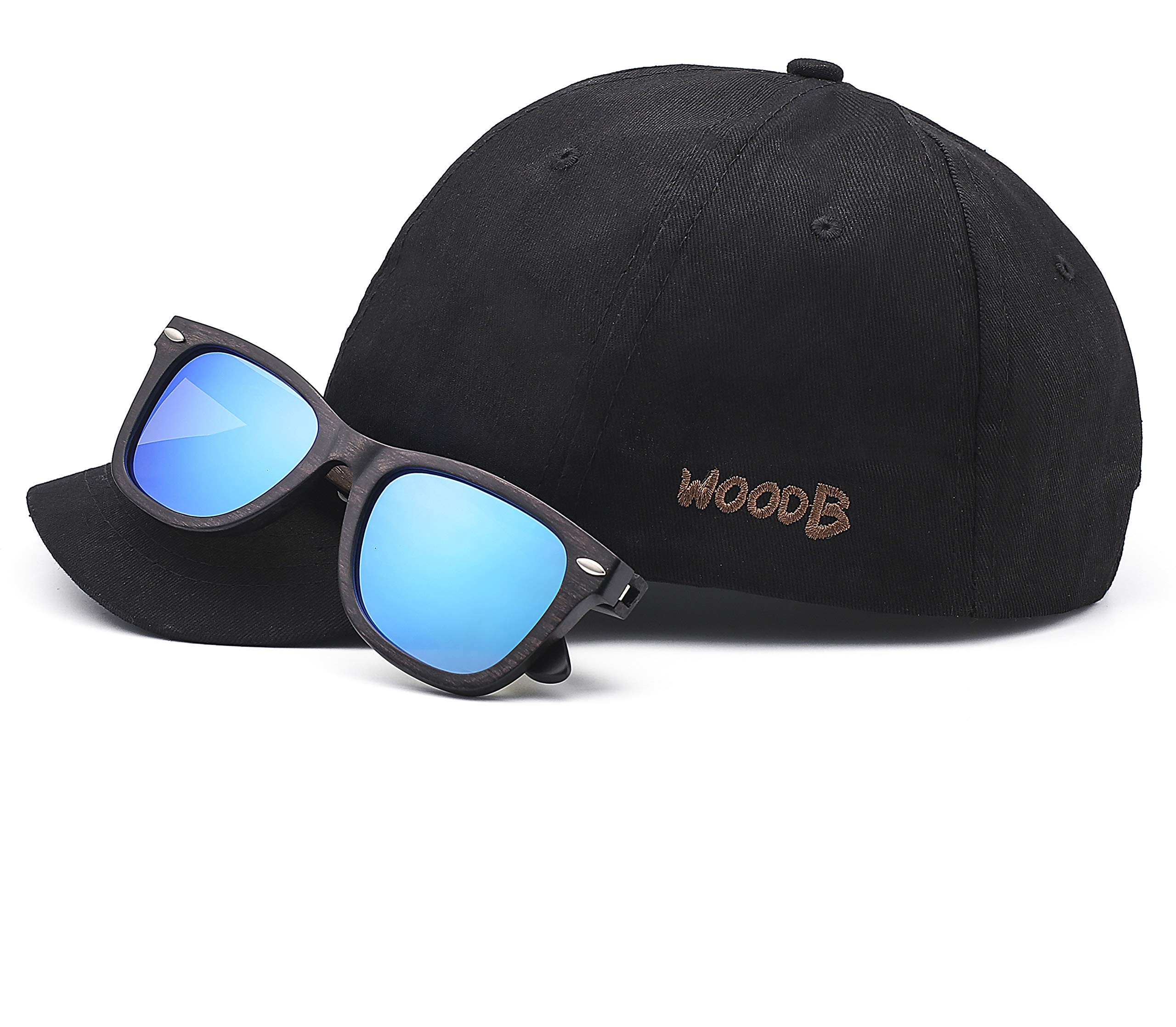 Real Wood Sunglasses Wayfarer UV-400 Polarized Lenses Plus Cap in Gift box by WOODB (Image #1)