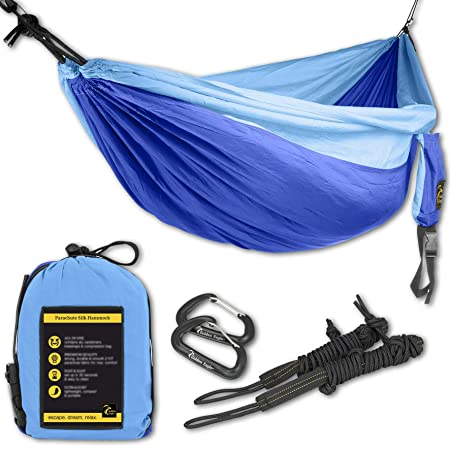 Late Summer Sale – Camping Hammock Set – 108 x 55 in – 440 lbs Load- Incl. 2 carabiners 2 Ropes Lightweight Parachute Nylon 210T Single Hammock for Hiking. Sale