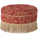 Jennifer Taylor Home Yolanda Collection Traditional Modern Cotton Blend Hand Tufted With Cord and Fringe Round Ottoman, Red Gold