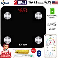 Dr Trust (USA) Electronic Digital Smart Connect Rechargeable Body Composition Monitor Fat Analyzer Weighing Scale