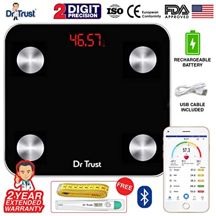 c48cdc944477 Dr Trust (USA) Electronic Digital Smart Connect Rechargeable Body  Composition Monitor Fat Analyzer Weighing Scale