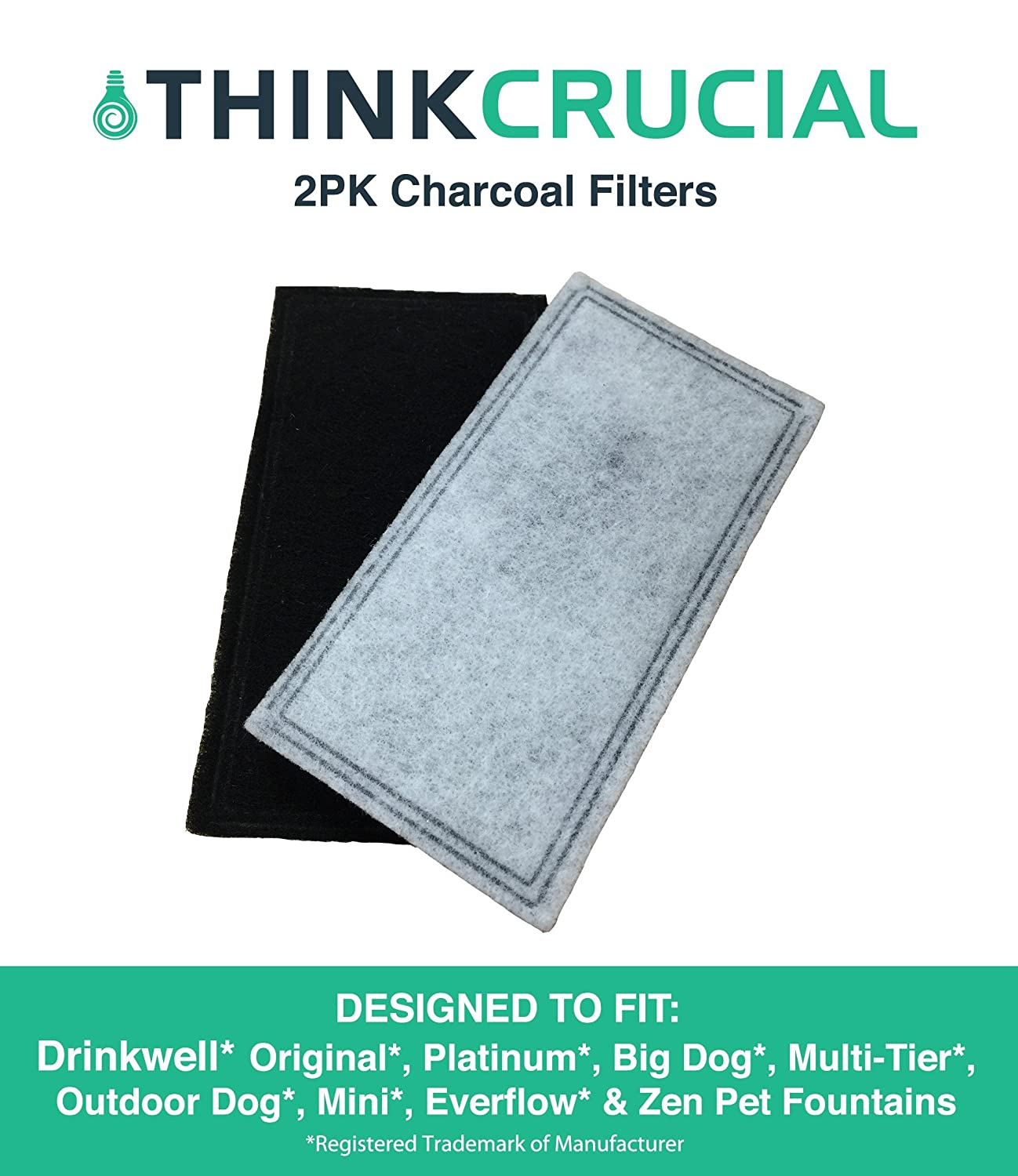 2 Replacements for Drinkwell Two-Chamber Charcoal Filters, Fits Big Dog, Everflow, Mini, Multi-Tier, Original, Outdoor Dog, Platinum, & Zen Fountains, by Think Crucial
