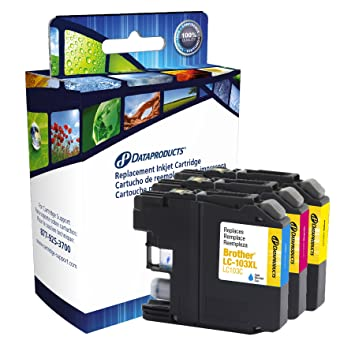 Dataproducts DPCLC103CMY High Yield Inkjet Cartridges for Brother LC 103XL Multi Pack, Cyan/Magenta/Yellow Inks, Toners   Cartridges