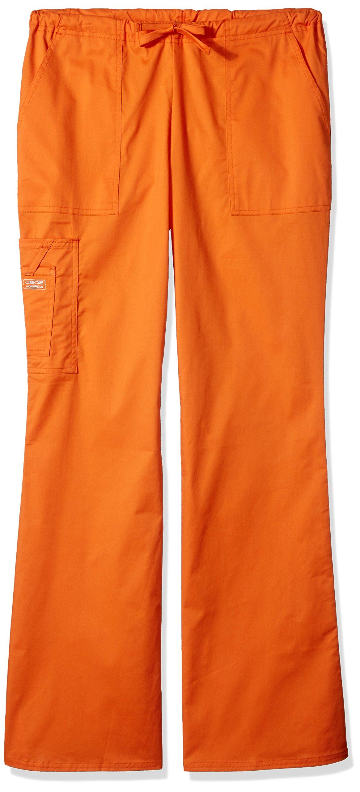 Cherokee Women's Workwear Core Stretch Drawstring Cargo Scrubs Pant, Pumpkin, X-Large Tall