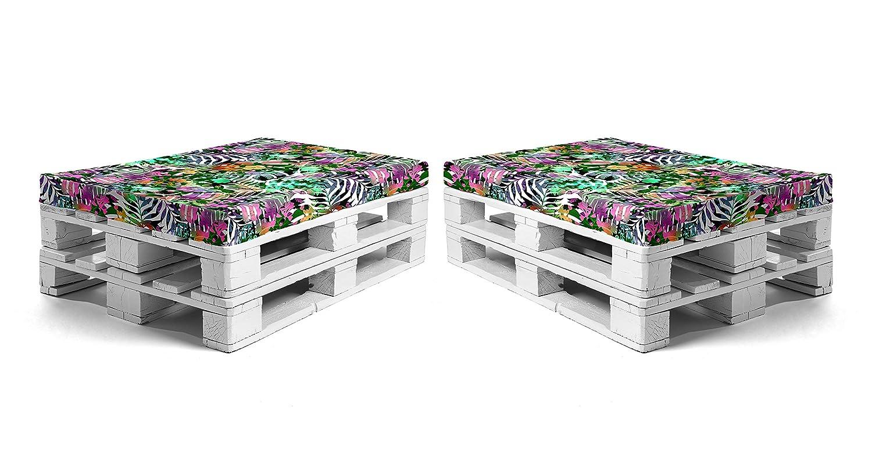 SUENOSZZZ - Pack 2 colchonetas para Sofas de Palet. Cojin Relleno con Espuma. Loneta HP Vietnam Tropical | Cojines para Chill out, Interior y ...
