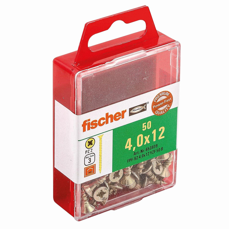 Fischer 653923 Spanplattenschraube Power-Fast 3,0 x 20 mm | Schraube gelbverzinkt mit Senkkopf, Vollgewinde und Kreuzschlitz (PZ) | 50 Stü ck Fischerwerke GmbH & Co. KG
