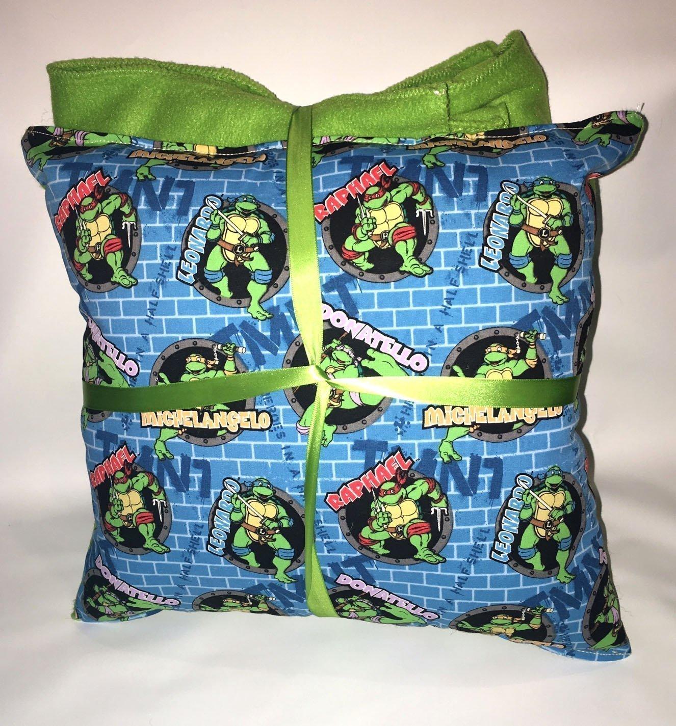 TMNT Pillow And Blanket Teenage Mutant Ninja Turtle Wall Pillow and Blanket Set Handmade In USA