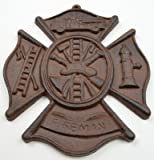 Firefighters Cast Iron Emblem Wall Plaque Rust Finish