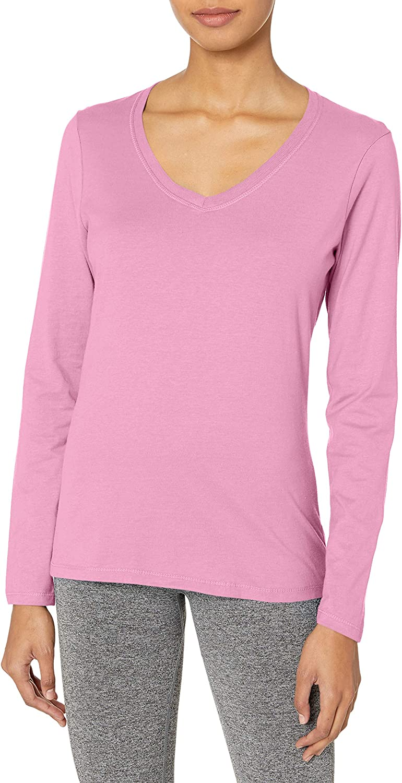 Hanes Womens V-Neck Long Sleeve Tee Shirt