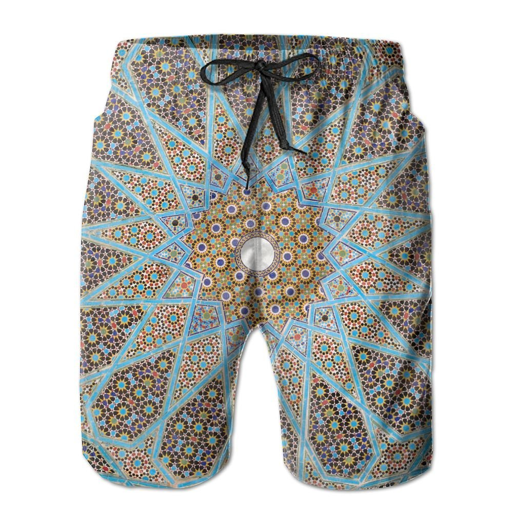 WZnWei Kaleidoscope Casual Mens Shorts Beach Swim Trunk Summer