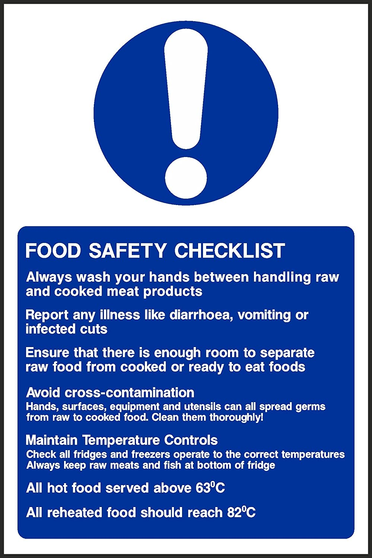 mmxmm food safety checklist sign self adhesive sticker 200mmx133mm food safety checklist sign self adhesive sticker health safety kitchen food hygiene uk amazon co uk kitchen home