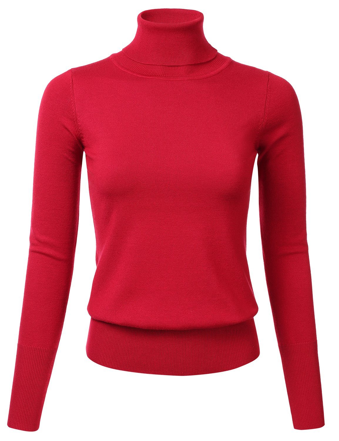 FLORIA Womens Stretch Knit Long Sleeve Turtleneck Top Pullover Sweater Red S