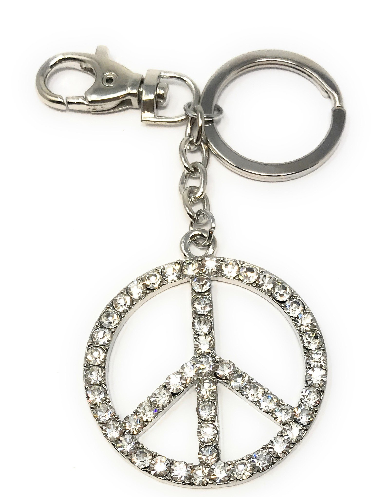 Kubla Craft Bejeweled Peace Sign Key Chain, 5 Inches Long