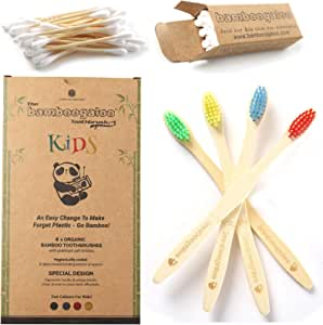 BAMBOOGALOO Kids Bamboo Toothbrush Set - Organic & Eco-Friendly. Rainbow 4 Pack with Bamboo Cotton Buds Gift. Natural Child, Wooden Toothbrush, Soft & Gentle BPA-Free Bristles. Plastic-Free Packaging