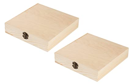 Juvale Unfinished Wood Cigar Box 2 Pack Rectangle Wooden Box Locking Clasp Diy Projects Home Decor 825 X 85 X 175 Inches