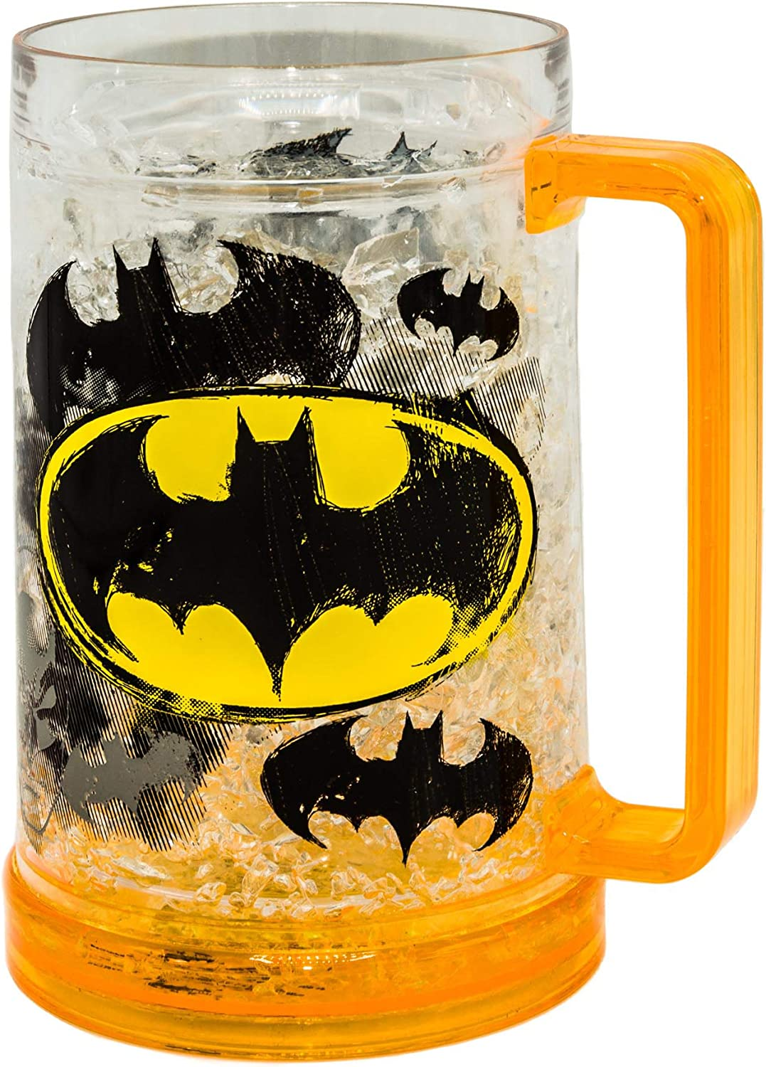 Silver Buffalo DC Comics Batman Logos Plastic Drinking Stein, 16-Ounce Freeze Gel Mug, 16 Ounce, Yellow