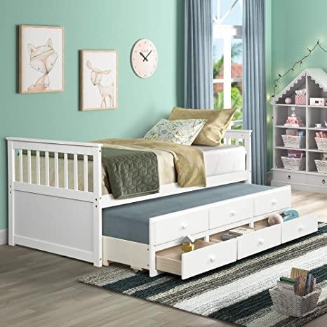 Phenomenal Merax Captains Platform Storage Bed With Trundle Bed And Drawers Twin White Caraccident5 Cool Chair Designs And Ideas Caraccident5Info