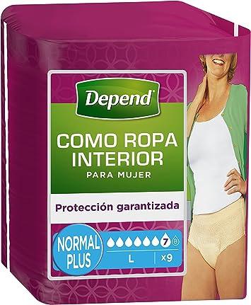 Oferta amazon: Depend como ropa interior - Absorbente para mujer, absorción normal plus, talla L, 9 unidades