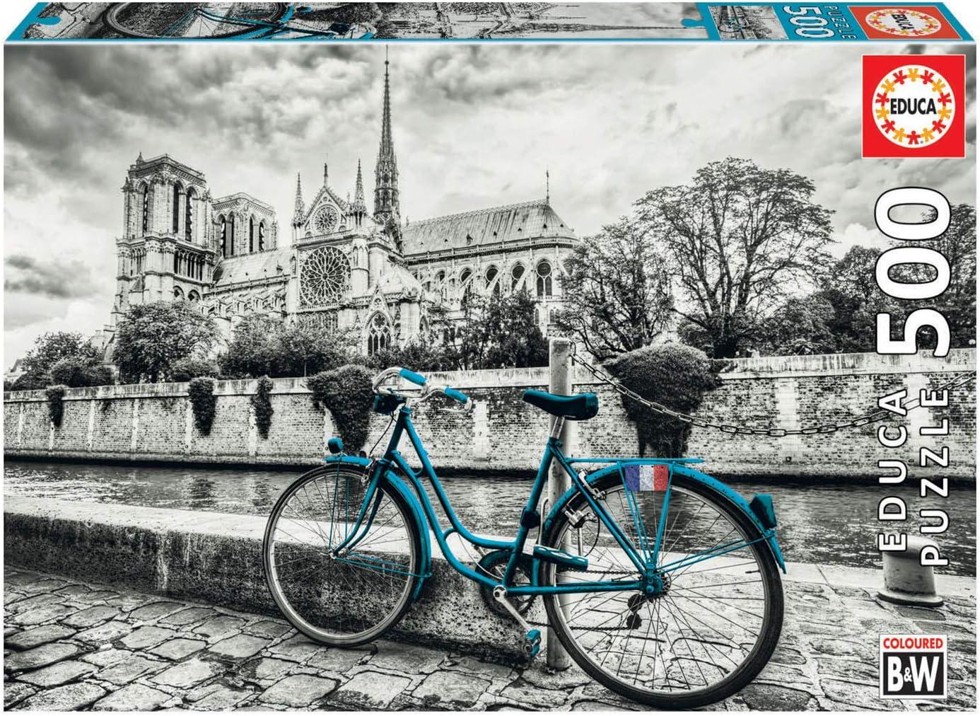 Educa Borras - Serie Coloured B&W, Puzzle 500 piezas Bicicleta cerca de Notre Dame (18482): Amazon.es: Juguetes y juegos