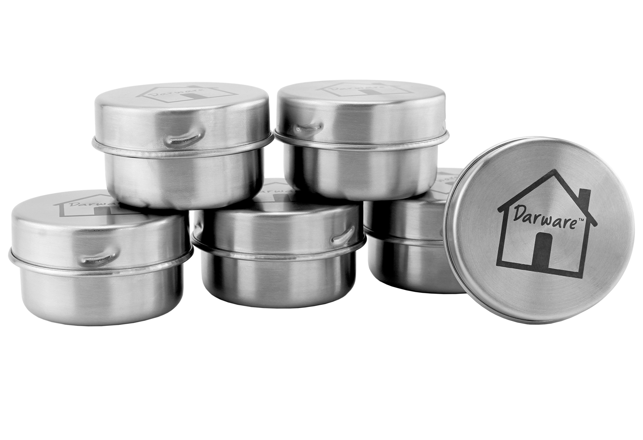 Metal Condiment Containers (6-Pack); 1.5oz+ Stainless Steel Pots with Lids for Bento Boxes & Lunch Boxes