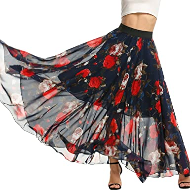 f74a66b3e9 Meaneor Women's Solid Stretch High Waist A-line Flared Long Skirt Plus Size  (Floral