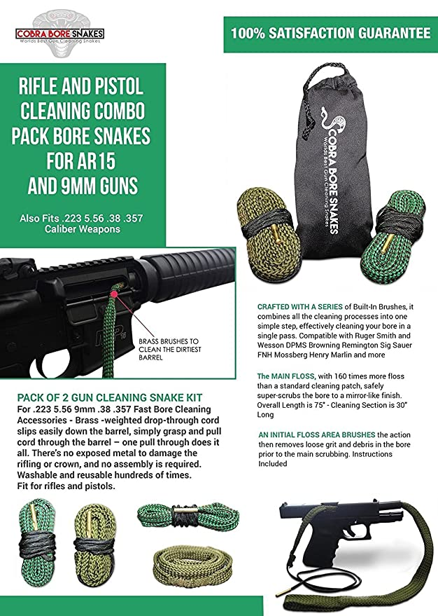 Amazon Rifle And Pistol Cleaning Combo Pack Bore Snakes For