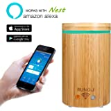 RUNGLI Bamboo Smart Essential Oil Diffuser Ultrasonic Aromatherapy Humidifier Cool Mist , APP Voice Control Work with Alexa Echo