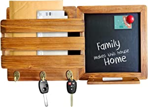 Mail Organizer for Wall with Chalkboard Frame & 3 Key Hooks - Wood Wall Mount Mail Holder Organizer – Mail Organizer Wall Mount with Magnetic Chalkboard Frame - Wall Décor for Entryway - (Brown)