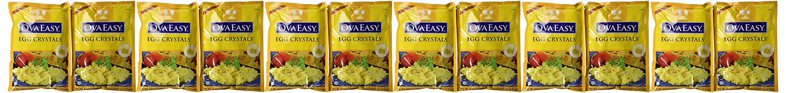 Ova Easy Egg Crystals – Dehydrated Eggs – Camping and Survival Food - 4.5 oz Bag – 12 Pack