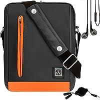 Vangoddy Orange Trim Anti-Robo Vertical Crossbody Bolsa de Hombro Mensajero para Microsoft Surface Go 2-in-1 Windows Tablet + In-Ear Buds and Splitter
