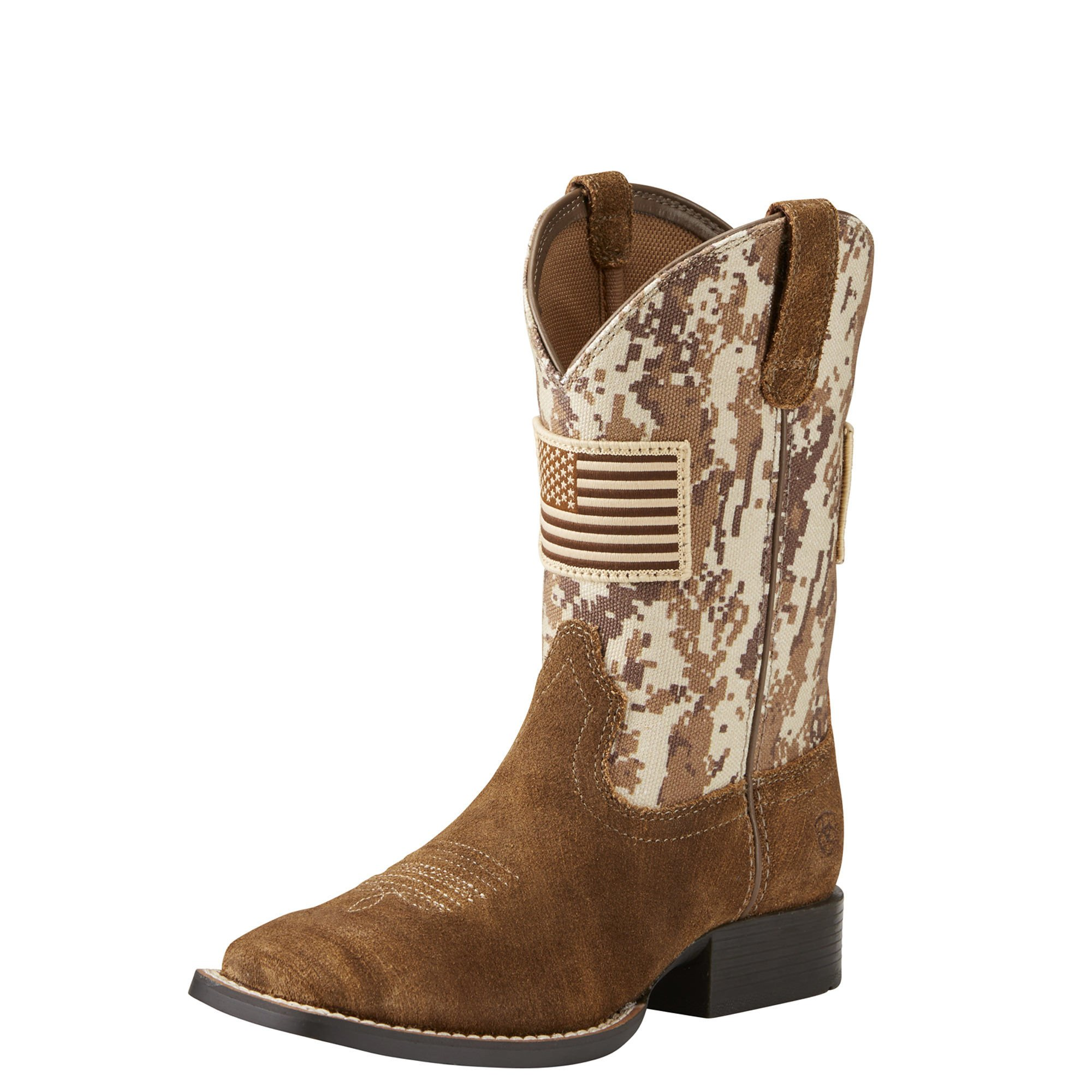 Kids' Patriot Western Cowboy Boot, Antique Mocha Washed Suede, 5 M US Big Kid
