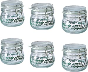 Ikea Korken Clear Glass Food Storage Jar With Lid, Airtight Seal, Leaf Pattern, Pack of 6