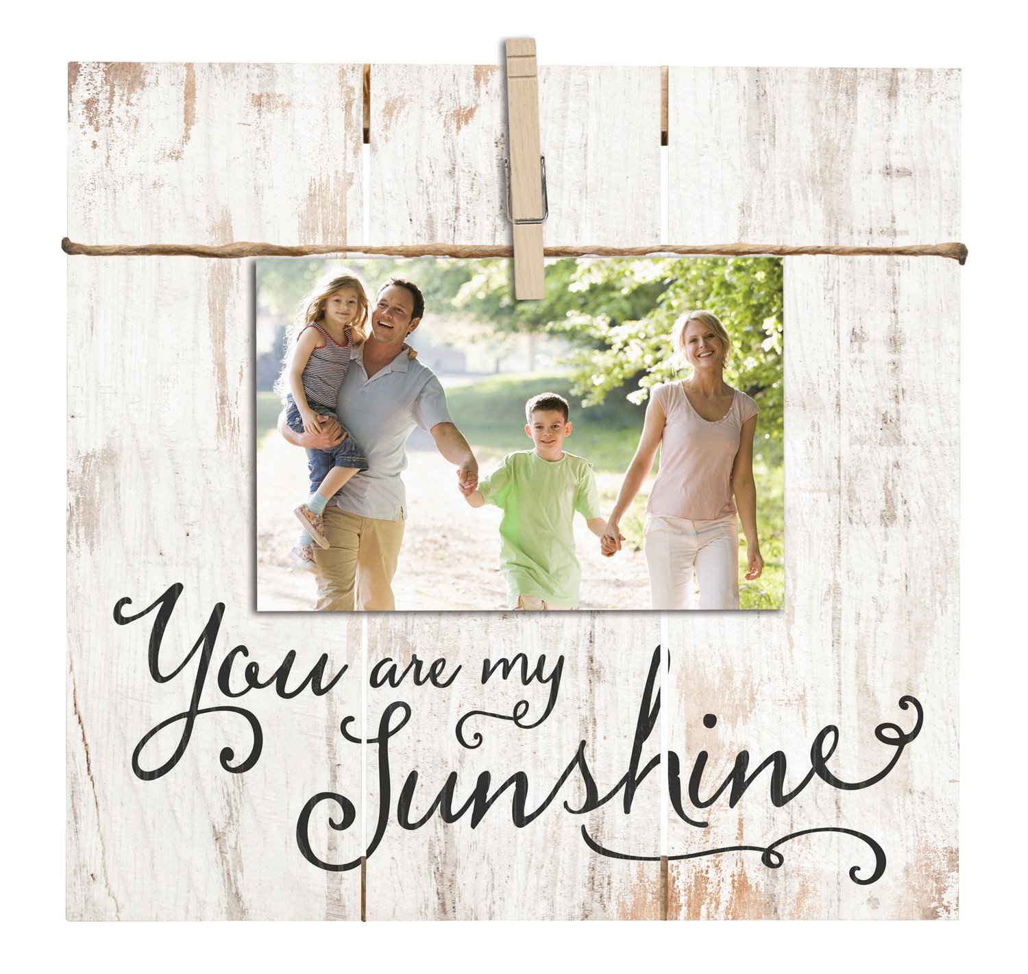 You Are My Sunshine 11 x 10 Inch Solid Pine Wood Clothesline Clipboard Photo and Momento Display