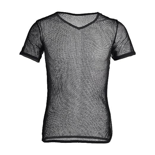 06aae484 FEESHOW Men's See Through Mesh Fishnet Clubwear Short Sleeve T-Shirt  Undershirt Black Medium
